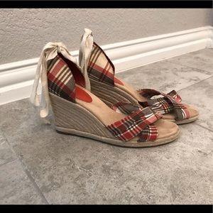 Loft plaid espadrille tie wedge sandals